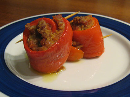 rolled bell peppers with meat stuffing